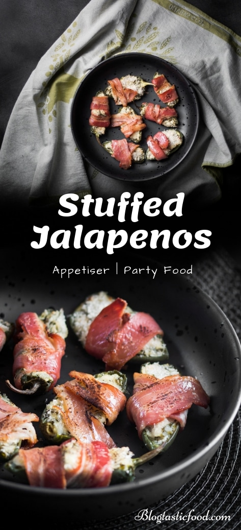 A stuffed jalapeno recipe presented in the form of a pin for Pinterest.