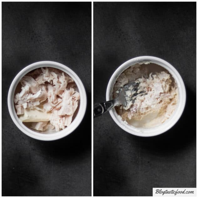 A before and after collage of chicken and cream cheese in a ramekin, then a photo of the 2 ingredients mixed together.