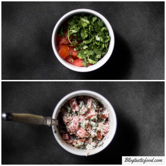 A before and after collage of diced tomato, coriander, ground cumin and cream cheese in a ramekin, then a photo of the 2 ingredients mixed together.