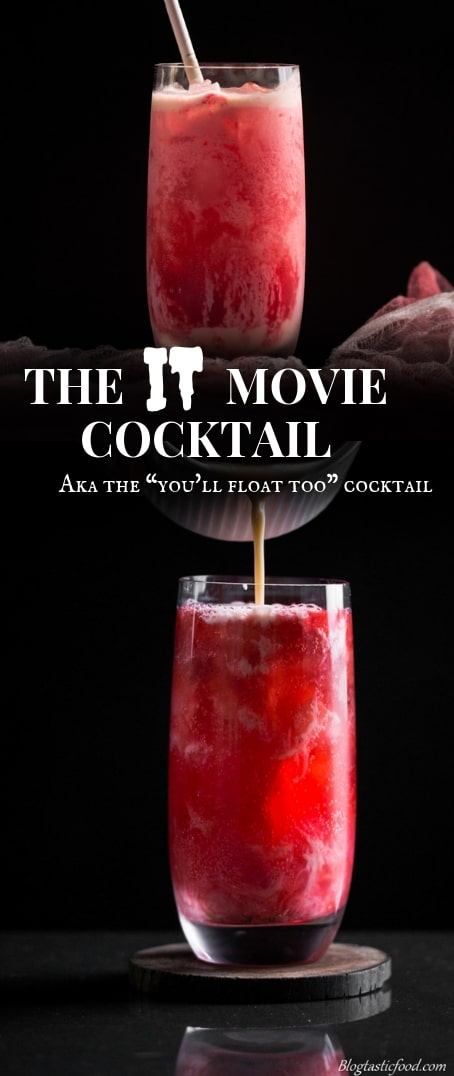 An IT movie cocktail recipe post presented in the form of a pin for Pinterest.