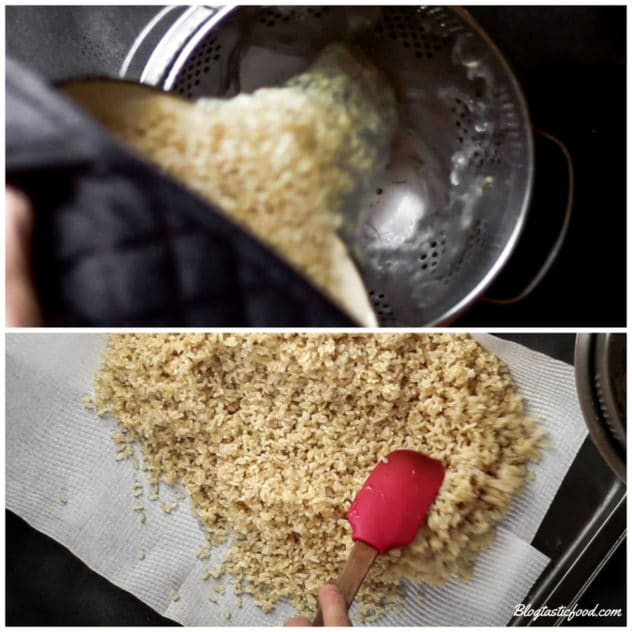 A collage of 2 photos showing brown rice being drained, then being transfer onto a tray lined with kitchen paper.