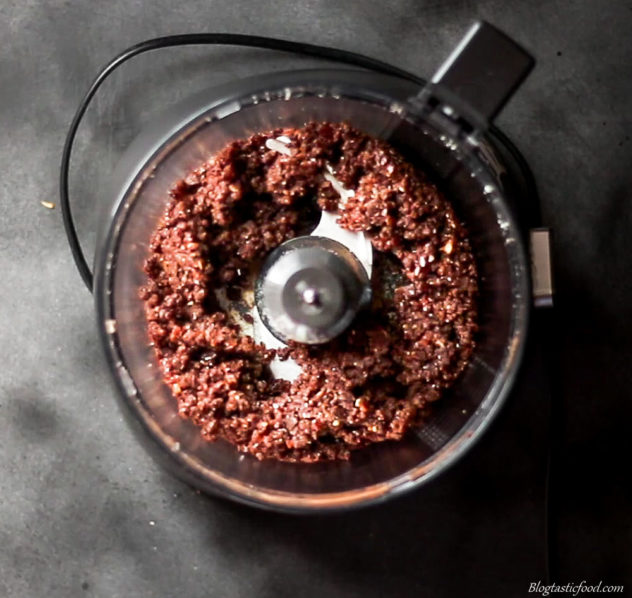 An overhead photo of a protein ball mixture that has been blitzed up in a food processor.