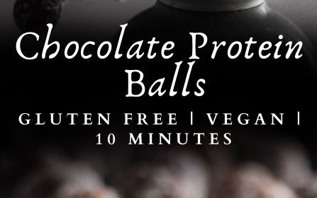 A chocolate protein balls recipe presented in the form of a pin for Pinterest.