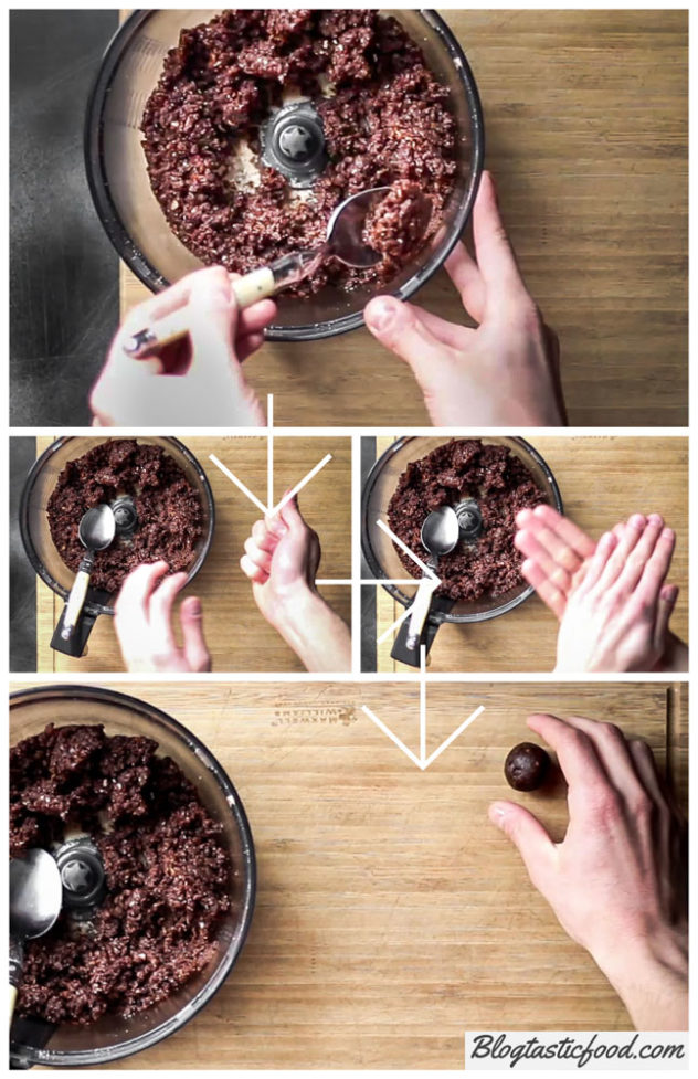 A step by step series of photos showing how to roll a protein ball.