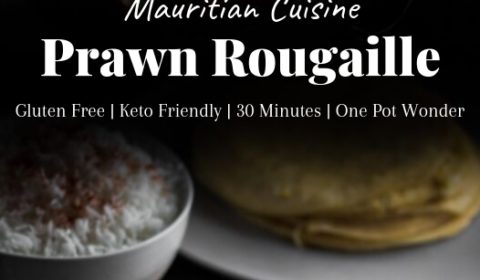 A prawn Rougaille recipe post presented in the form of a pin for Pinterest.