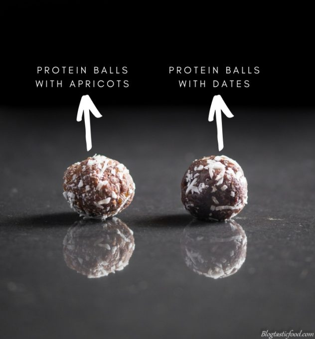 A photo an apricot protein ball and a date protein ball side by side.