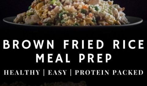 A brown fried rice recipe presented in the form of a Pin for Pinterest.