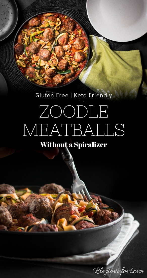 A zoodle meatballs recipe post presented in the form of a pin for Pinterest.
