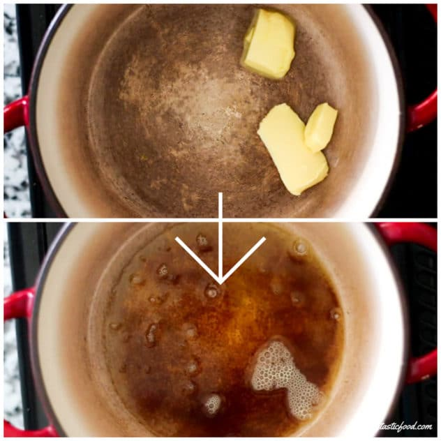 A before and after collage showing raw butter in a pot, then showing brown butter.