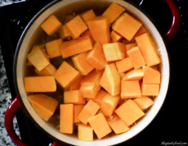 Diced pumpkin in a pot of hot water.