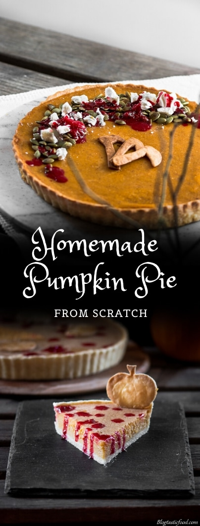 A homemade pumpkin pie recipe presented in the form of a pin for Pinterest.
