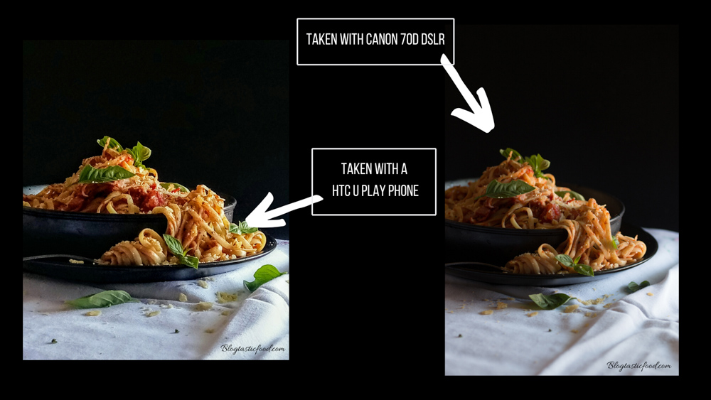 2 photos of pasta side by side.