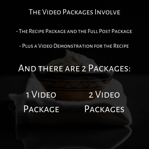 A cheat sheet showing what's available in the video packages of my service.