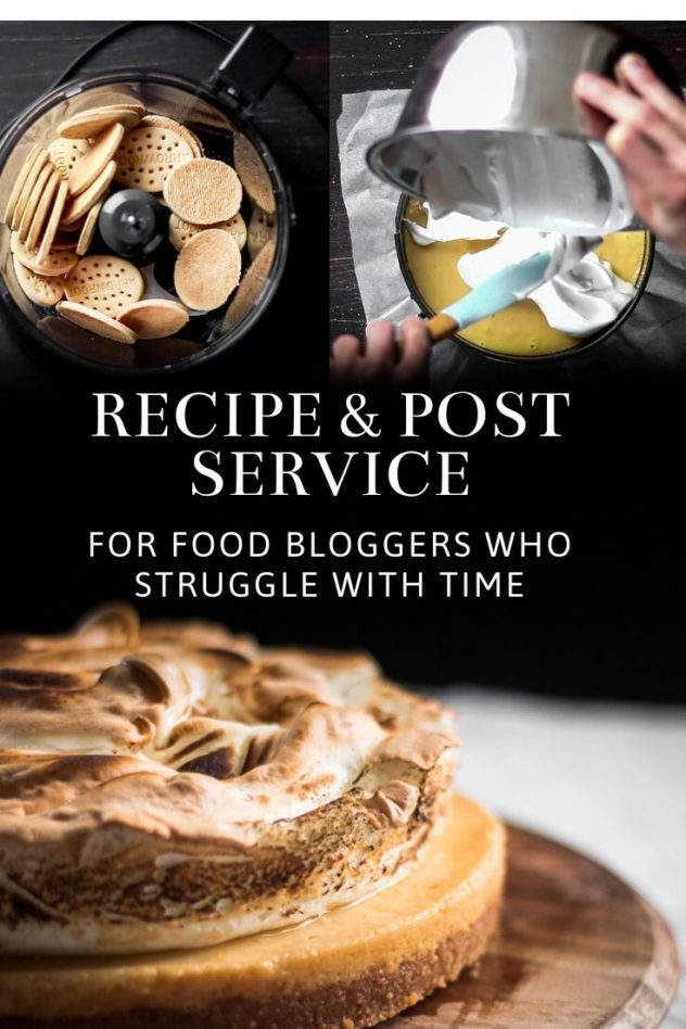 A recipe and post service presented in the form of a pin for Pinterest.