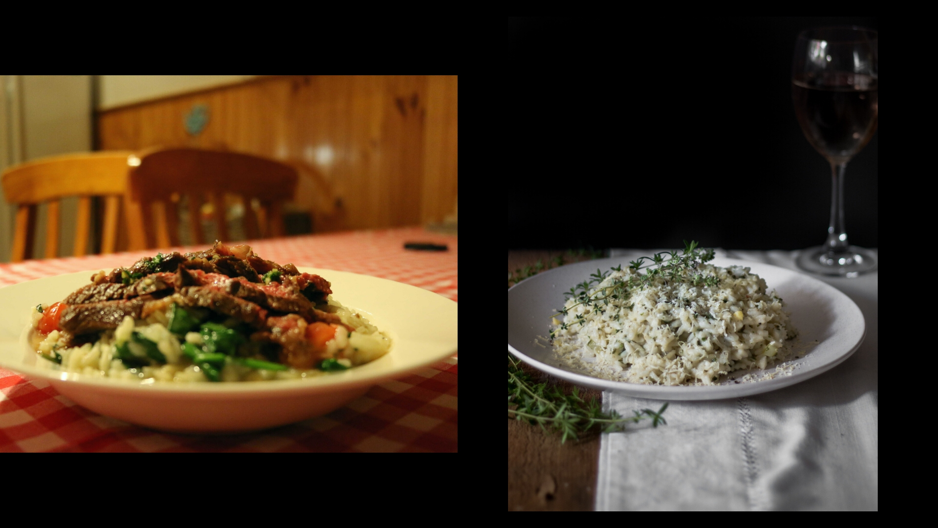 2 photos of risotto side by side.