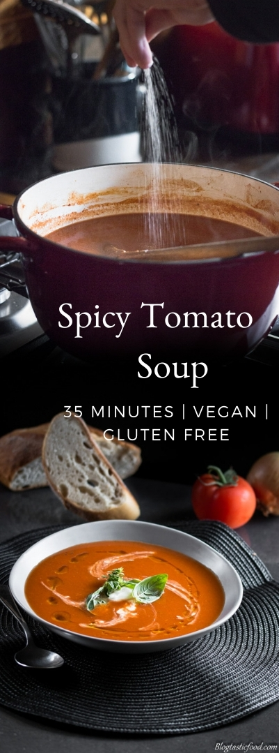 A spicy tomato soup recipe presented in the form of a pin for Pinterest.