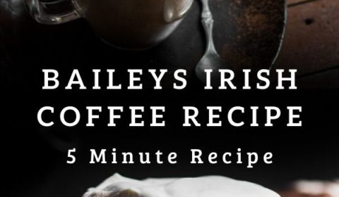 A baileys Irish coffee recipe presented in the form of a pin for Pinterest.