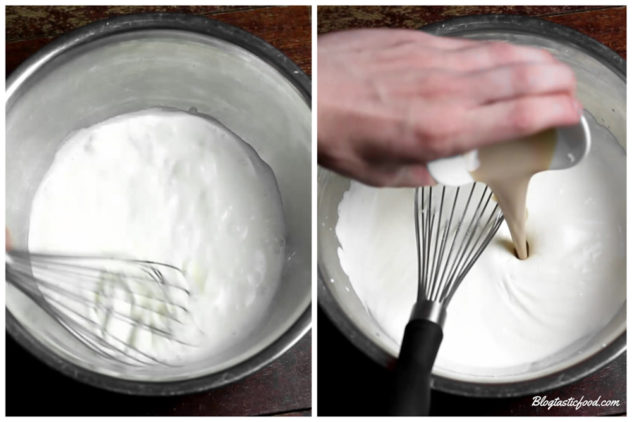 a collage of 2 photos, one of cream being whipped and another photo of baileys being added to that whipped cream.