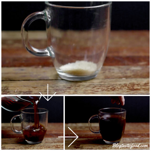A collage of 3 photos, one of sugar in a glass mug, one of coffe being added to that mug, and then one of the coffee being stirred.