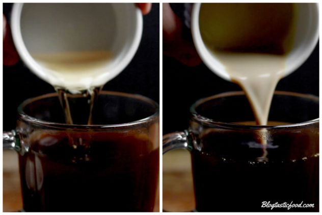 A collage of 2 photos, one of whiskey being added to coffee and one of baileys being added to coffee.