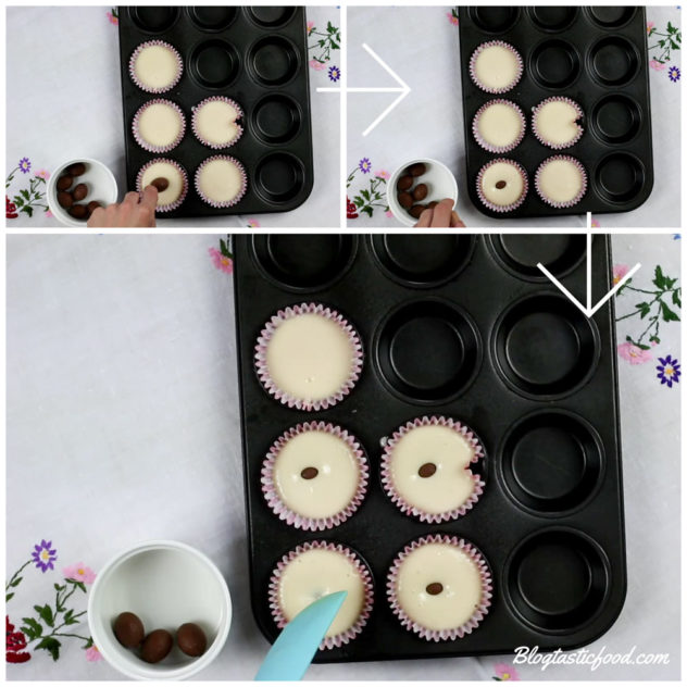 3 photos in a collage, one of an Easter egg being placed on cupcake batter, one of the Easter eggs being pushed down and one of the Easter eggs being covered up by the batter.