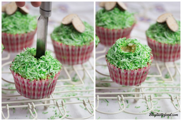 A collage of 2 photos, one of an apple corer going onto the top of a cupcake, and one of hollowed cupcake.