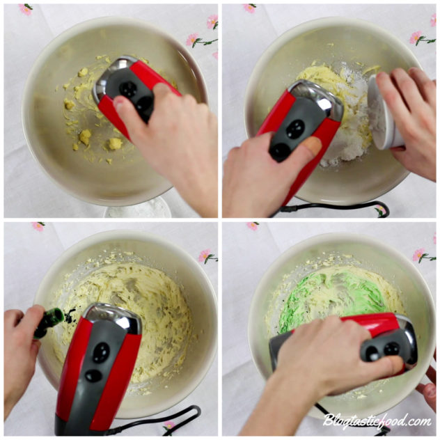 4 photos showing how to beat buttercream and make it green using green food colouring.