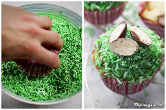 2 photo showing how to use green shredded coconut to give a grass effect to cupcakes.