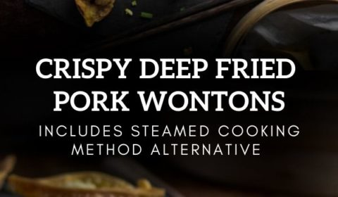 A crsipy deep fried wonton recipe presented in the form of a pin for Pinterest.
