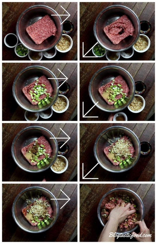 A step by step series of photos showong how I made a pork wonton filling.