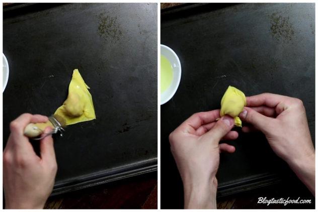 A series of 2 photos shoing how to shape a wonton.