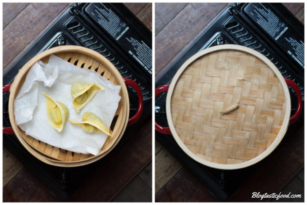 A series of photos showing raw wontons in a steamer, and then a lid oververing the wontons in the steamer.