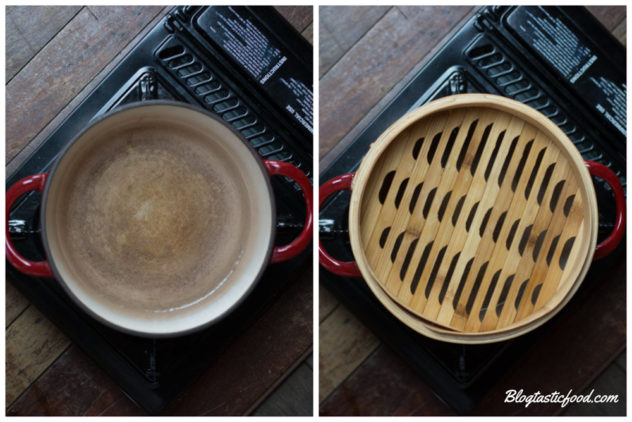 a collage of 2 photos, one with a pot of simmeirng water, and one showing a steamer that has been placed over that water.