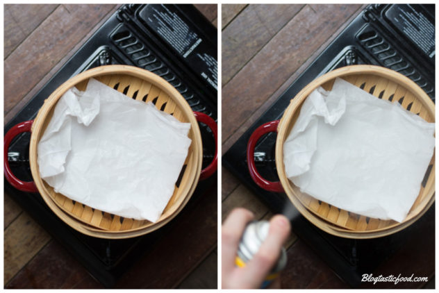 A series of 2 photos showing baking paper being sprayed with cooking spray on a steamer.