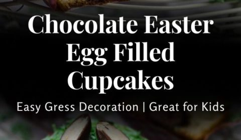 An Easter egg filled cupcake recipe presented in the form of a pin for Pinterest.