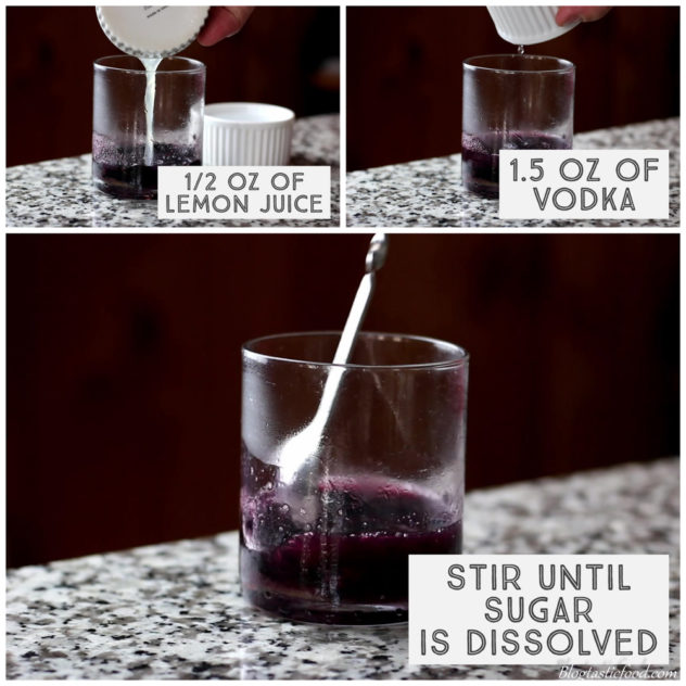 A series of photos of lemon and vodka being added and stirred through muddled blackberries in a glass.