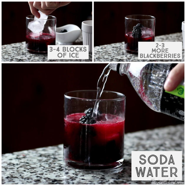 A step by step series of photos showing ice, blackberries and soda water being added to a glass to make a cocktail.