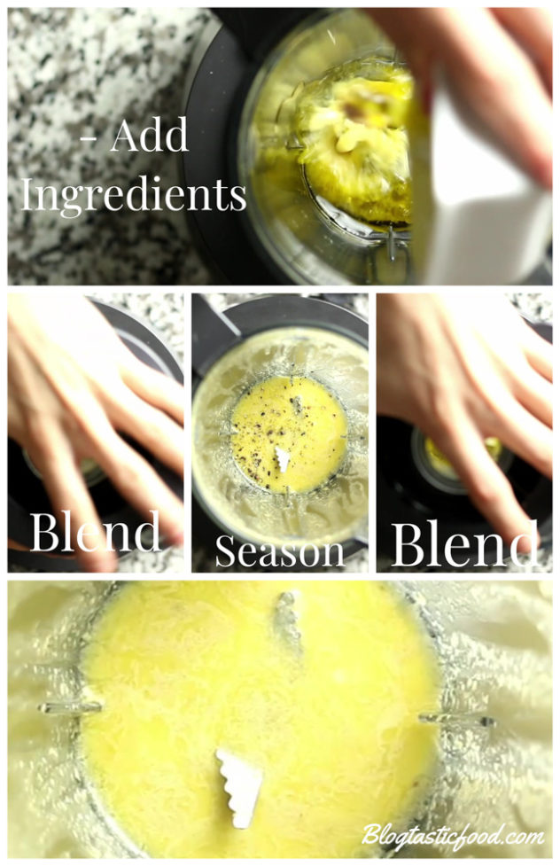 a step by step series of photos showing how to make lemon, anchony and caper vinaigrette.