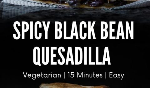 A spciy black bean quesadilla recipe presented in the form of a pin for Pinterest.