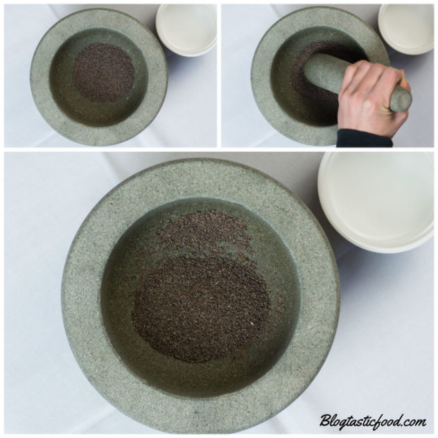 A collage of 3 photos showing chai seeds being grinded into a powder in a pestle mortar.