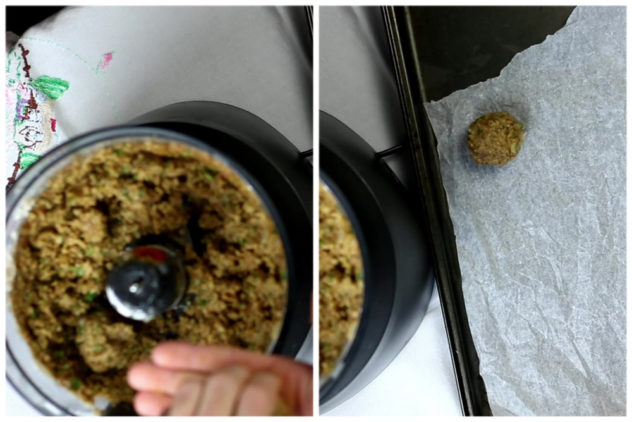 a collage of 2 photos showing a lentil mixture being rolled into balls.