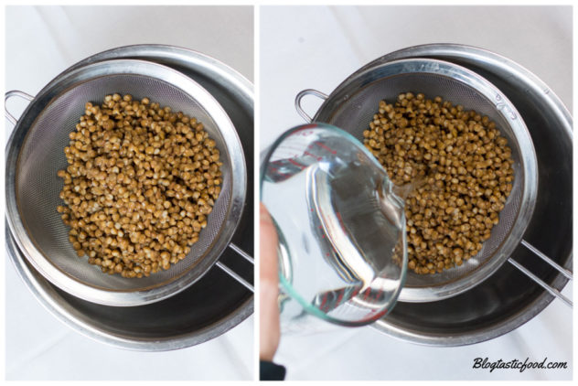 A collage of 2 photos showing lentils drained in a seive, and then rinsed with water.