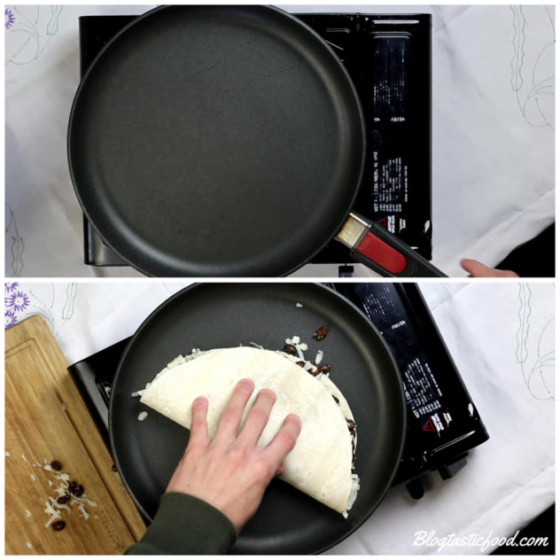 a collage of 2 photos, one of a pan pre-heating and the other of a un-toasted quesadilla being placed in the pan.
