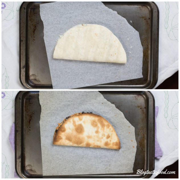 a collage of 2 photos, on of an un-baked quesadilla, and a photo of the same quesadilla that is baked.