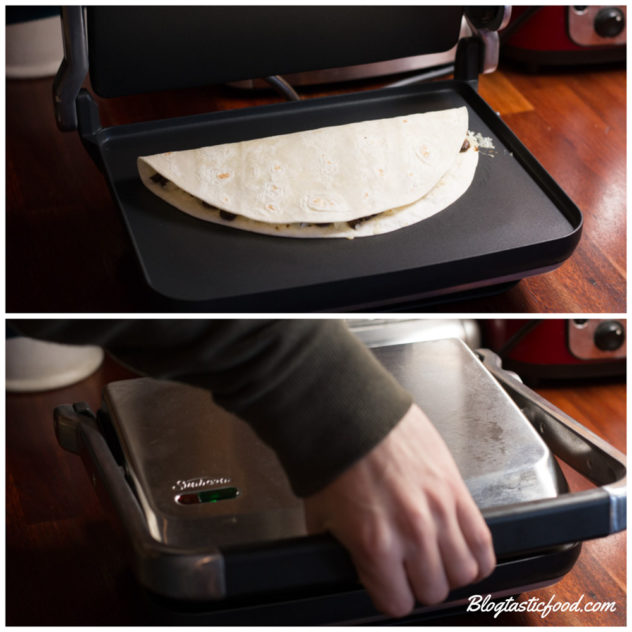 2 photos, one of a quesadilla on in a sandwhich maker, and one showing the top of that sandwich maker being pushed down over the quesadilla.