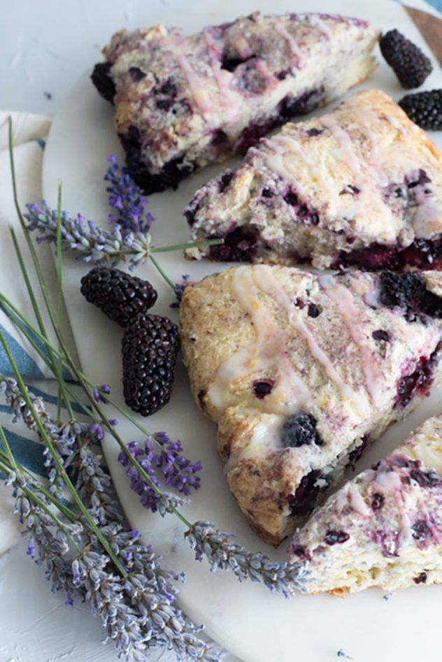 4 portions on blackberry and lavander scones, served in a white platter.