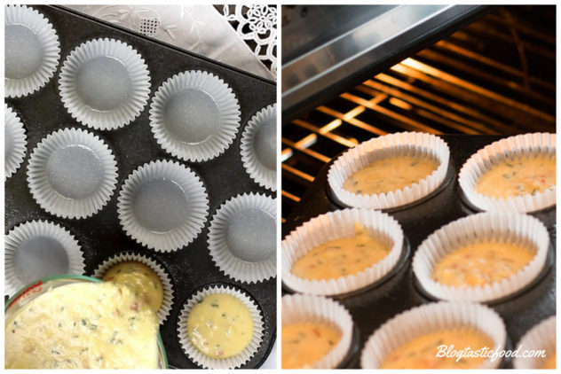 A collage of 2 photos, showing muffin batter going into muffin cases, and those muffins going onto the oven.