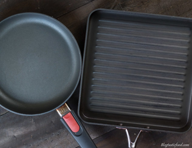 An over photo of a frying pan and a griddle pan side by side.
