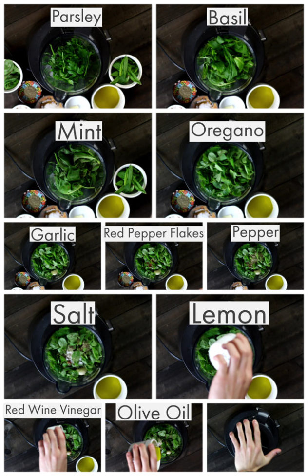 A step by step series of photos showing different ingredients being added to a blender to make chimichurri sauce.