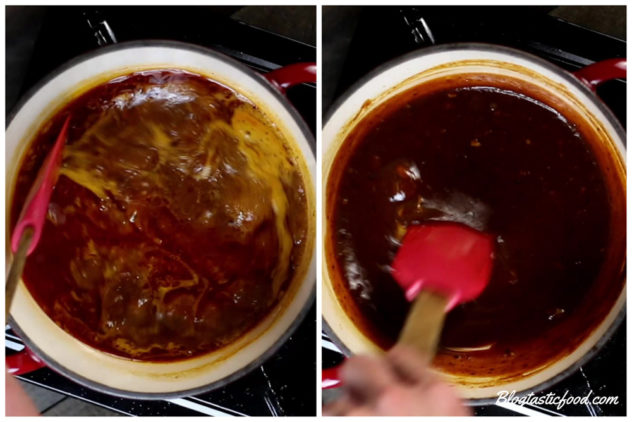 A collage of 2 photos, one of bbq sauce boiling on a pot, and the other of the final result of the bbq sauce.